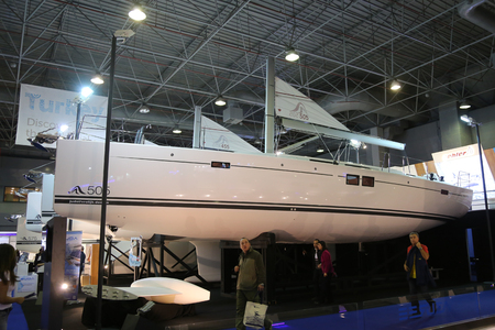 eurasia: ISTANBUL, TURKEY - FEBRUARY 13, 2016: Hanse 505 sailboat on display at 9th CNR Eurasia Boat Show in CNR Expo Center