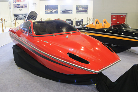 eurasia: ISTANBUL, TURKEY - FEBRUARY 13, 2016: Esline boat on display at 9th CNR Eurasia Boat Show in CNR Expo Center