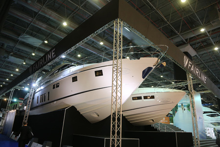 eurasia: ISTANBUL, TURKEY - FEBRUARY 13, 2016: Fairline yachts on display at 9th CNR Eurasia Boat Show in CNR Expo Center