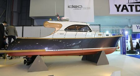 eurasia: ISTANBUL, TURKEY - FEBRUARY 13, 2016: Idea boat on display at 9th CNR Eurasia Boat Show in CNR Expo Center Editorial