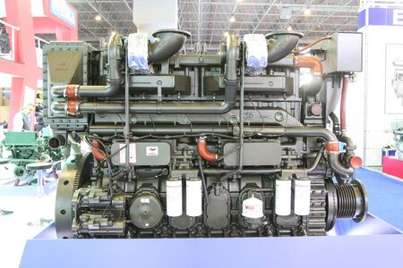 eurasia: ISTANBUL, TURKEY - FEBRUARY 13, 2016: A ship engine on display at 9th CNR Eurasia Boat Show in CNR Expo Center