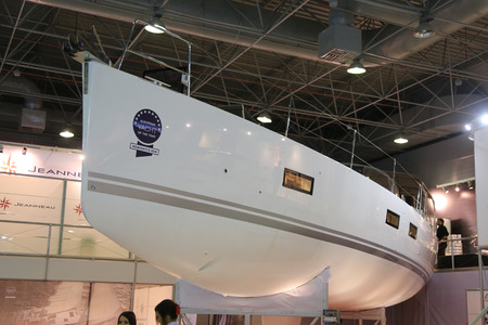 eurasia: ISTANBUL, TURKEY - FEBRUARY 13, 2016: Jeanneau Sailboat on display at 9th CNR Eurasia Boat Show in CNR Expo Center
