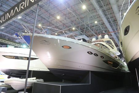 eurasia: ISTANBUL, TURKEY - FEBRUARY 13, 2016: Numarine 70 Fly Yacht on display at 9th CNR Eurasia Boat Show in CNR Expo Center