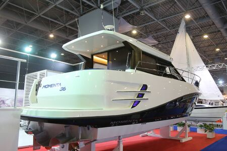 eurasia: ISTANBUL, TURKEY - FEBRUARY 13, 2016: Momenta 36 yacht on display at 9th CNR Eurasia Boat Show in CNR Expo Center