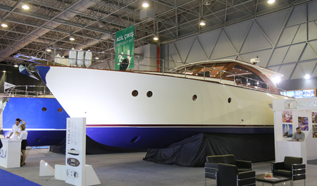 eurasia: ISTANBUL, TURKEY - FEBRUARY 13, 2016: Roda Perla 52 yacht on display at 9th CNR Eurasia Boat Show in CNR Expo Center