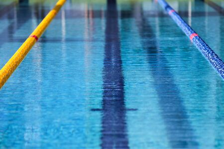 lane lines: Surface of an outdoor swimming pool Stock Photo