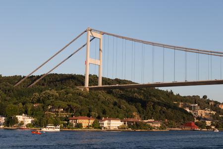 fatih: Fatih Sultan Mehmet Bridge in Istanbul City, Turkey Stock Photo