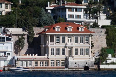 strait: building in Bosphorus Strait, Istanbul City, Turkey Stock Photo