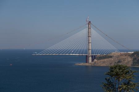 koprusu: Construction of Yavuz Sultan Selim Bridge over Bosphorus Strait in North of Istanbul, Turkey