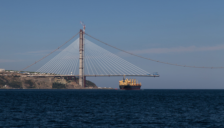 Construction of Yavuz Sultan Selim Bridge over Bosphorus Strait in North of Istanbul, Turkey