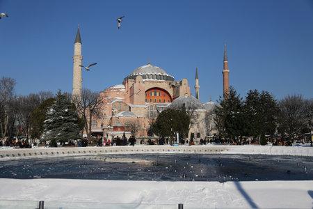 hagiasophia: Hagia Sophia covered with first snow of season in Istanbul City, Turkey