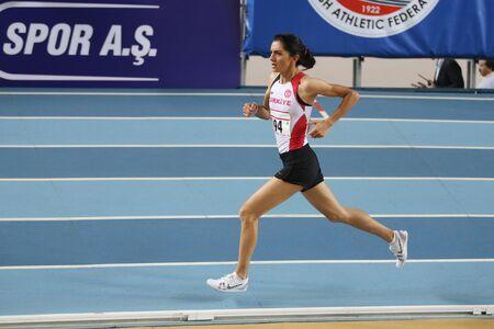 championships: ISTANBUL, TURKEY - FEBRUARY 27, 2016: Athlete Ozlem Kaya running in Balkan Athletics Indoor Championships Editorial