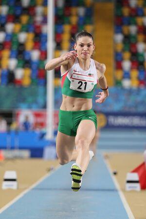 triple: ISTANBUL, TURKEY - FEBRUARY 27, 2016: Athlete Gabriela Petrova triple jumping in Balkan Athletics Indoor Championships Editorial