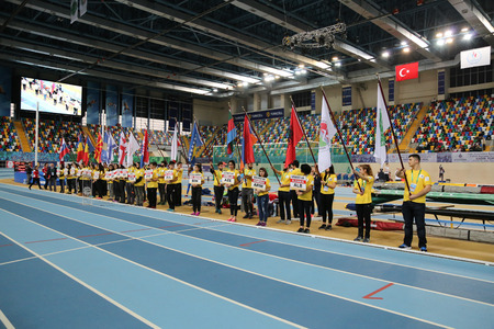 championships: ISTANBUL, TURKEY - FEBRUARY 27, 2016: Opening ceremony of Balkan Athletics Indoor Championships Editorial