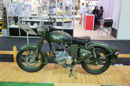 enfield: ISTANBUL, TURKEY - FEBRUARY 25, 2016: Royal Enfield Classic 500 on display at Moto Bike Expo in Istanbul Exhibition Center Editorial