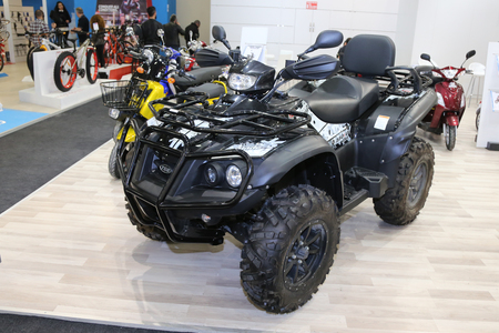 lt: ISTANBUL, TURKEY - FEBRUARY 25, 2016: TGB Blade 550i LT IRS 4x4 on display at Moto Bike Expo in Istanbul Exhibition Center Editorial