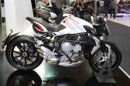 dragster: ISTANBUL, TURKEY - FEBRUARY 25, 2016: MV Agusta Brutale 800 Dragster on display at Moto Bike Expo in Istanbul Exhibition Center Editorial