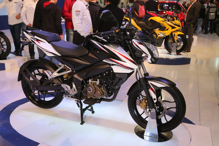ISTANBUL, TURKEY - FEBRUARY 25, 2016: Bajaj Pulsar 200 NS 50 on display at Moto Bike Expo in Istanbul Exhibition Center