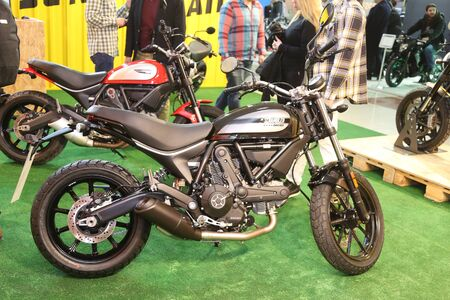 scrambler: ISTANBUL, TURKEY - FEBRUARY 25, 2016: Ducati Scrambler on display at Moto Bike Expo in Istanbul Exhibition Center