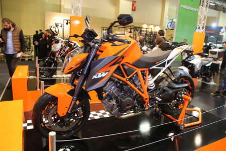 duke: ISTANBUL, TURKEY - FEBRUARY 25, 2016: KTM 1290 Super Duke R on display at Moto Bike Expo in Istanbul Exhibition Center Editorial