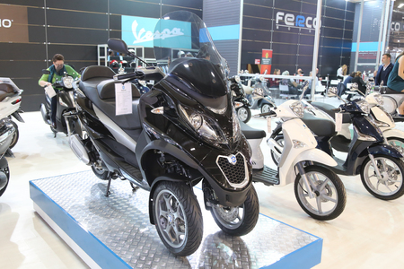 lt: ISTANBUL, TURKEY - FEBRUARY 25, 2016: Piaggio MP3 Business 300 LT on display at Moto Bike Expo in Istanbul Exhibition Center