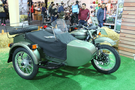 enfield: ISTANBUL, TURKEY - FEBRUARY 25, 2016: Royal Enfield motorcycle on display at Moto Bike Expo in Istanbul Exhibition Center Editorial