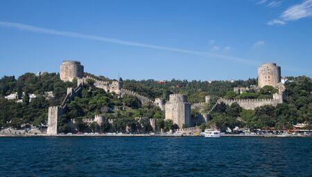 strait: Rumelian Castle in Bosphorus Strait Coast of Istanbul City, Turkey