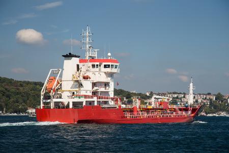 tanker ship: Red Tanker Ship Passing in Bosphorus Strait