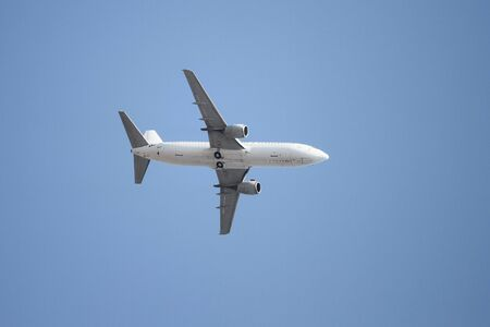 airplane take off: A White Airplane is Landing to Airport