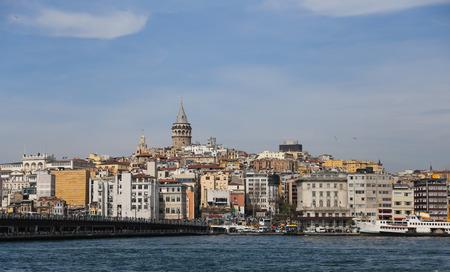 koprusu: Karakoy and Galata Tower in Istanbul City, Turkey Stock Photo