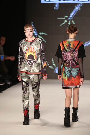 db: ISTANBUL, TURKEY - MARCH 16, 2016: A model showcases one of the latest creations of DB Berdan in Mercedes-Benz Fashion Week Istanbul Editorial