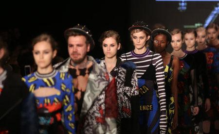 db: ISTANBUL, TURKEY - MARCH 16, 2016: Models showcase the latest creations of DB Berdan in Mercedes-Benz Fashion Week Istanbul Editorial