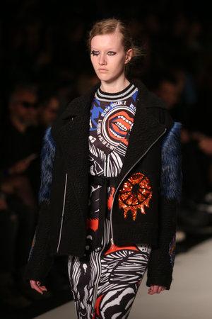 deniz: ISTANBUL, TURKEY - MARCH 16, 2016: A model showcases one of the latest creations of DB Berdan in Mercedes-Benz Fashion Week Istanbul Editorial