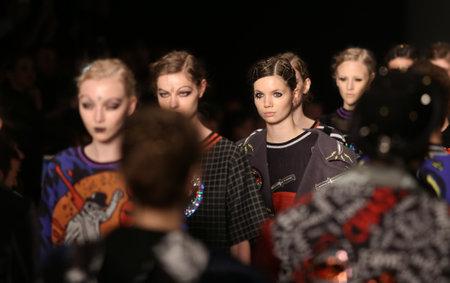 fashion week: ISTANBUL, TURKEY - MARCH 16, 2016: Models showcase the latest creations of DB Berdan in Mercedes-Benz Fashion Week Istanbul Editorial