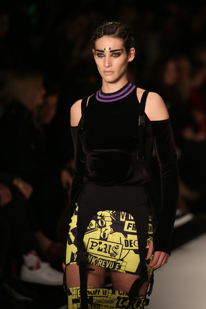 ISTANBUL, TURKEY - MARCH 16, 2016: A model showcases one of the latest creations of DB Berdan in Mercedes-Benz Fashion Week Istanbul Editorial