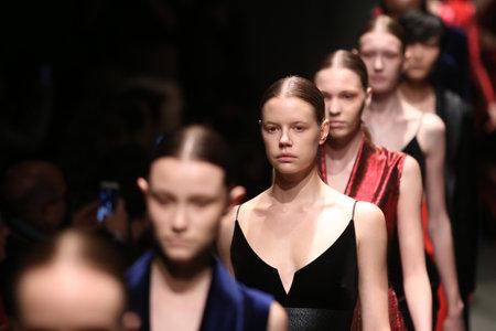 fashion week: ISTANBUL, TURKEY - MARCH 17, 2016: Models showcase the latest creations of Sudi Etuz in Mercedes-Benz Fashion Week Istanbul