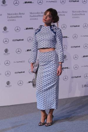 march 17: ISTANBUL, TURKEY - MARCH 17, 2016: Turkish model Muge Boz posing in Mercedes-Benz Fashion Week Istanbul