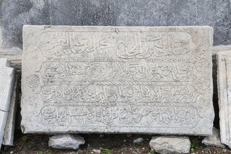 mugla: Ottoman era Carved Marble in Bodrum Castle, Mugla, Turkey