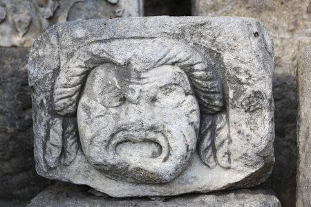mugla: Face Relief in Bodrum Castle, Mugla, Turkey