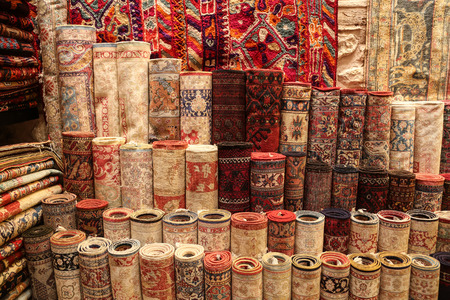kapalicarsi: Stack of Carpets in Istanbul City, Turkey
