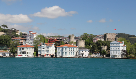 hisari: Buildings in Bosphorus Strait, Istanbul City, Turkey
