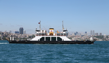 seaway: ISTANBUL, TURKEY - APRIL 30, 2016: Istanbul Deniz Otobusleri ferry passing from European to Asian side of Istanbul. 18 ferries in 3 different types carry passengers and vehicles between Sirkeci and Harem.