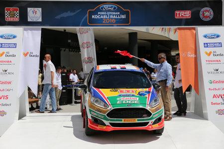 turkiye: KOCAELI, TURKEY - JUNE 11, 2016: Bugra Banaz with Ford Fiesta R2T of Castrol Ford Team Turkiye in ceremonial start of Kocaeli Rally