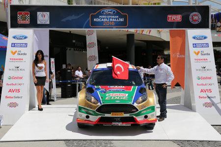 turkiye: KOCAELI, TURKEY - JUNE 11, 2016: Murat Bostanci with Ford Fiesta R5 of Castrol Ford Team Turkiye in ceremonial start of Kocaeli Rally