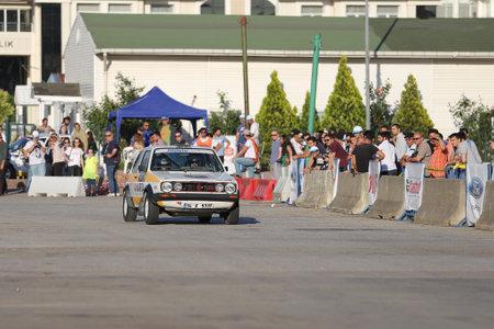 gti: KOCAELI, TURKEY - JUNE 11, 2016: Sinan Dundar drives Volkswagen Golf GTI in Kocaeli Rally
