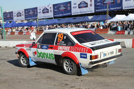 kap: KOCAELI, TURKEY - JUNE 11, 2016: Engin Kap drives Ford Escort MK2 of Bonus Unifree Parkur Racing Team in Kocaeli Rally Editorial