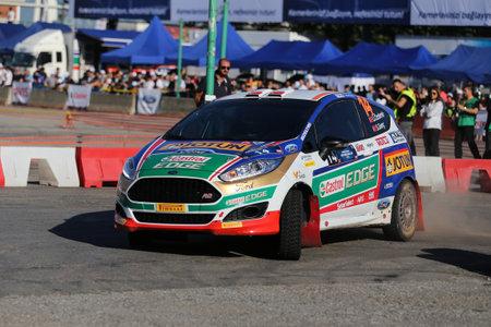 turkiye: KOCAELI, TURKEY - JUNE 11, 2016: Umitcan Ozdemir drives Ford Fiesta R2T of Castrol Ford Team Turkiye in Kocaeli Rally Editorial