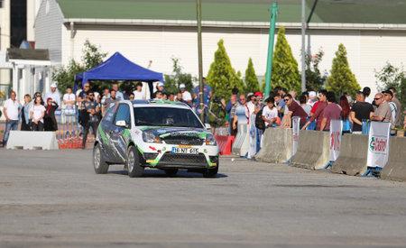 tarik: KOCAELI, TURKEY - JUNE 11, 2016: Tarik Gokcen with Ford Fiesta ST in Kocaeli Rally