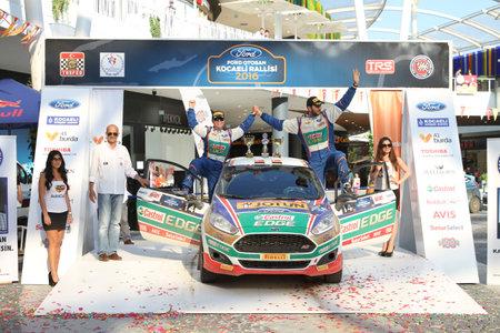 turkiye: KOCAELI, TURKEY - JUNE 12, 2016: Umitcan Ozdemir with Ford Fiesta R2T of Castrol Ford Team Turkiye in Podium Ceremony of Kocaeli Rally