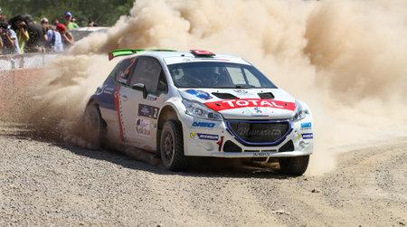 KOCAELI, TURKEY - JUNE 11, 2016: Yagiz Avci drives Peugeot 208 T16 R5 of Neomotorspor Team in Kocaeli Rally